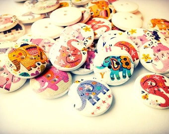 Mixed Set Multicolor Wood Elephant Buttons