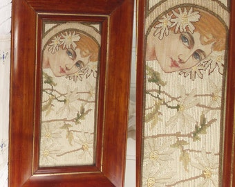 Art Nouveau c1900 Tapestry Hand Embroidered Grospoint Petitpoint . Arts & Crafts Picture  . Antique . Handmade . Mucha Lady . Daisies .