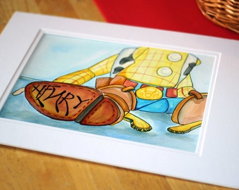 Custom Themed Child's Name Art (Woody/Toy Story) Original Watercolor Painting
