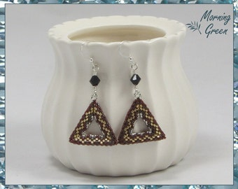 Red, Gold, and Silver Peyote Triangle Earrings, Red, Gold, and Silver Seed Bead Earrings (185)
