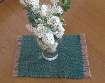 Two handwoven small table runners, cotton and jute rope