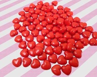 11mm Tiny Red Hot Cinnamon Heart Acrylic Heart Beads - 50 pc set