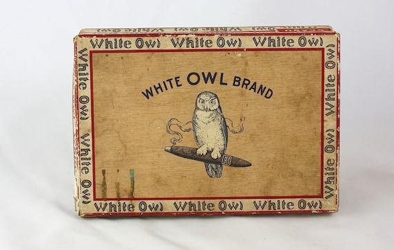 Antiquariato gufo bianco scatola di sigari, 1930 fabbrica 2260