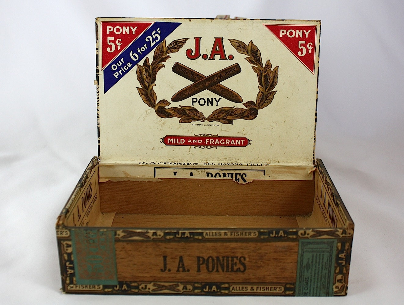 Antique Alles Amp Fisher Ja Ponies Cigar Box Early 1900 S
