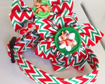 Red, Green & White Christmas Chevron  Dog or Cat Collar with Available Matching Collar Accessories