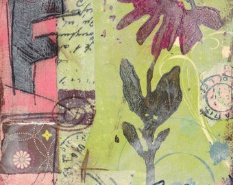 Flower Mixed Media - 6x6, 8x8 and 12x12 Print of Original