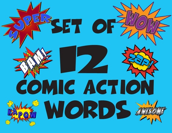 Super Hero Words Set of 12 Printable