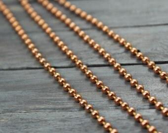 Ball Chain, Copper Ball Chain, Jewelry Supplies, Copper Chain, 24 Inch Ball Chain, 2.5mm Ball Chain,