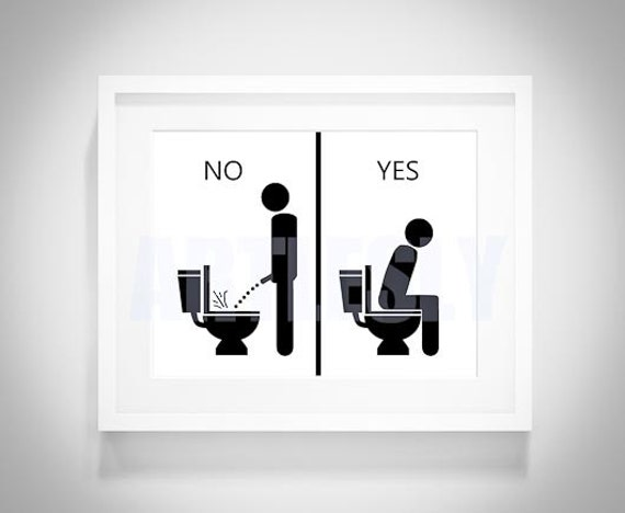 No And Yes Bathroom Signs Digital Download Pee Sign Art
