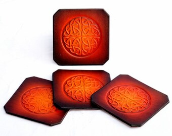Celtic Knot Coasters. Handmade Leather Coasters. Coasters Set of 4. 4 Celtic Knot Coasters. Leather Celtic Knot Coasters by Leather Meister.