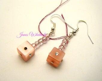 Cube Earrings - Pink - Square Earrings - Pink Dangle