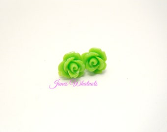 Rose Earrings - Lime Green - Flower Earrings - Green Studs