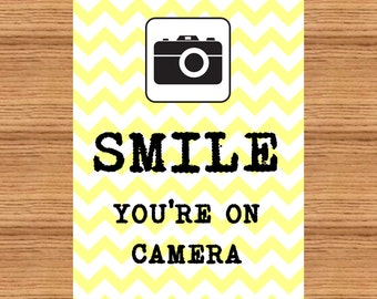 Smile You're On Camera - Printable Sign - PDF - Instant Download