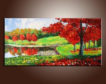 Large Original Painting, Autumn Forest, Landscape Painting, Abstract Art, Impasto Texture, Palette Knife Oil Painting, Landscape Painting