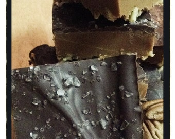 ARTISANAL FUDGE  - Turtle Fudge - Homemade Fudge - 1/2 Lb. Caramel Sea Salt Turtle Fudge - Candy -