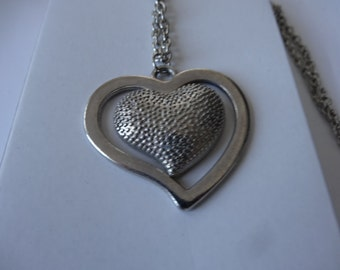 Heart Necklace Silver Plated