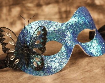 Blue Glitter Masquerade Ball Mask Black Butterfly Ribbon Ties
