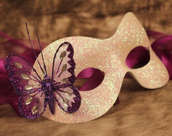 White Glitter Mask Christmas Masked Ball Purple Butterfly