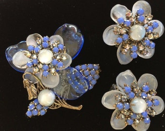 Lovely Vintage Miriam Haskell Brooch & Earring Set-Pate de Verre Glass/Rhinestones~Signed