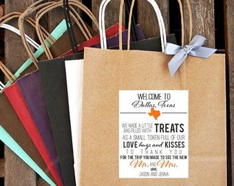 Personalized Welcome to (City/State) ... Love, Hugs and Kisses Wedding Welcome Bag