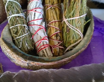 "Enlight Smudge Variety  pack 4 ""  smudge sticks cedar, white sage, Yerba Santa and Rosemary Incense"