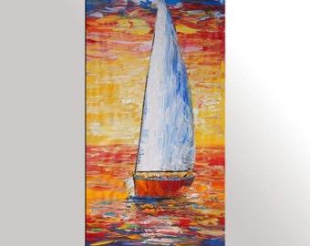 Large Art, Canvas Painting, Oil Painting, Sail Boat Painting, Original Painting, Large Painting, Abstract Art, Sunrise Painting