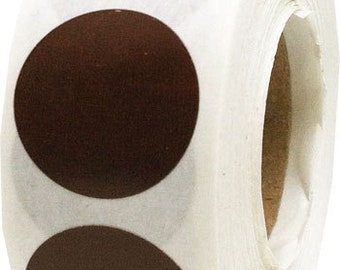 500 Brown Dot Stickers - 0.75 Inch Round Adhesive Labels