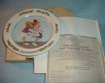 1985 Newell Pottery September by Sarah Stilwell Weber Calendar Collection Plate w Box & COA