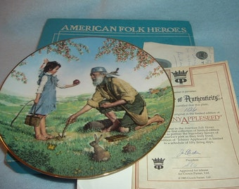 1983 Crown Parian Johnny Appleseed American Folk Heroes 1st Issue Plate w/ Box & COA