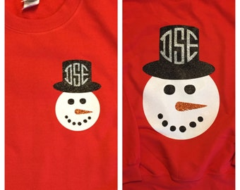 Snowman glitter monogram shirt
