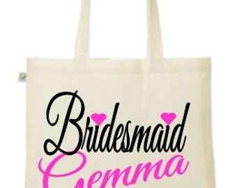 Personalised  Bridesmaid  - your name and date printed tote/shopper bag - wedding/married/hen night/hen party