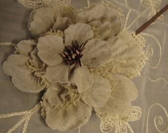 Ivory Burlap Peony Stem rustic wedding burlap flower peony burlap flowers with stems for burlap wedding bouquet
