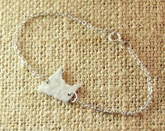 Personalized Minnesota bracelet, Silver hammered Map bracelet, map jewelry, state charm, Personalized Alloy state map, Customized bracelet
