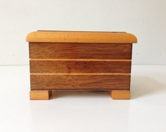 "THORENS Wooden Musical Box 3""x4.3""x3.5"" Made in Switzerland Vintage Doesn't Work  E677"