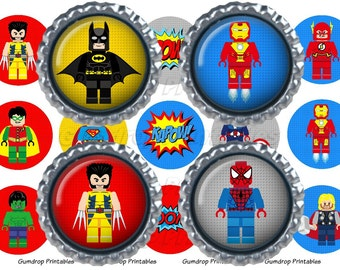 Buy 3 Get 1 FREE Lego Superhero 1 Inch Circles Bottlecap Images ~ Instant Download ~ Super Hero Birthday Printable Image Sheet SH_135