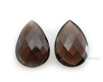 Smoky Quartz Pair Loose Gemstone Pear 18x25 mm