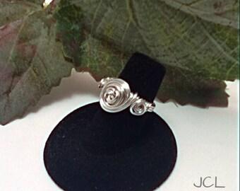 Silver filled rosette ring