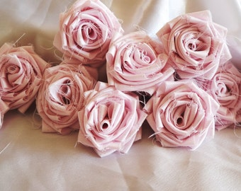 Shaby Chic Style Satin Roses with/without Glitter, Wedding/Home Decoration, Wedding Decor, SET OF 10