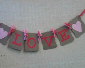Love banner, Valentines Decoration banner, Photo Prop, I Love You garland, Valentine Party Decoration, Bridal Shower,