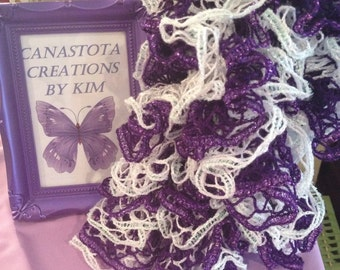Purple & White Sparkle-Ruffle Scarf