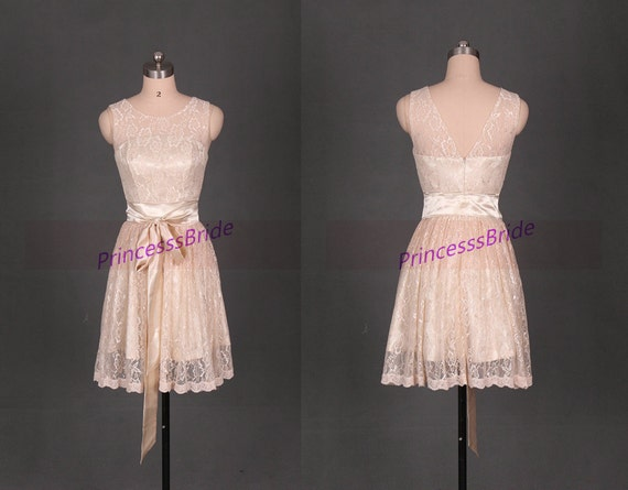 Latest short champagne lace bridesmaid dress hotcute women for Champagne lace short wedding dress