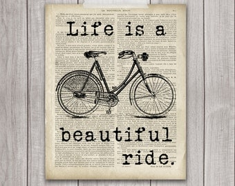 75% OFF SALE - Life is a Beautiful Ride - 8x10 Bicycle Print, Bike Print, Bike Vintage, Vintage Print, Bike Decor, Printable Art, Bicycle