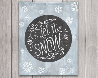 75% OFF SALE - Let It Snow Art Print - 8x10 Christmas Printable, Holiday Art Print, Holiday Wall Art, Christmas Decor, Winter, Holiday Decor