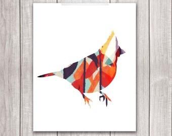 75% OFF SALE - Bird Art Print - 8x10 Cardinal Bird, Cardinal Art, Bird Artwork, Bird Print, Printable Wall Art
