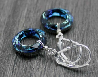 Blue Cosmic Ring Earrings, Swarovski Crystal Bermuda Blue Argentium Sterling Silver Wire Wrapped Earrings Bridal Jewelry Something Blue