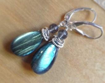 FIERY BLUE LABRADORITE Earrings wire wrapped in sterling silver