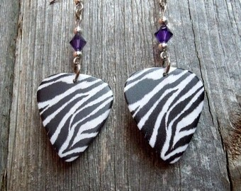 Zebra Print Guitar Pick Earrings with Purple Crystals