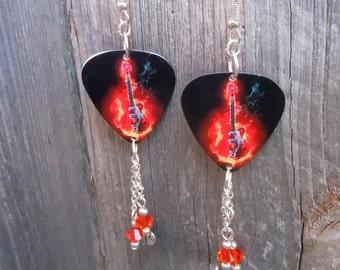 Guitar of Flames Guitar Pick Earrings with Dangles