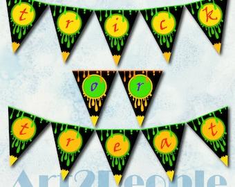 Trick Or Treat Halloween Pennant Flag Banner