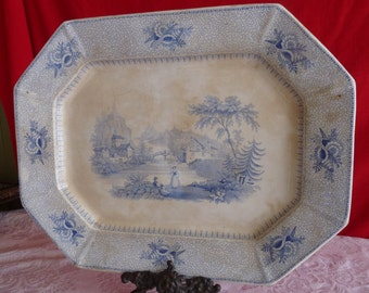 "Joseph CLEMENTSON 1840's Blue and White Transferware  - Lucerne pattern 17.75"" Rectangular PLATTER..Made in England"